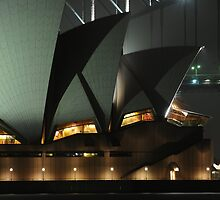 Close up of sydney opera house at night by boblemur