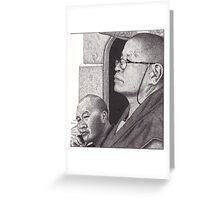 Buddhist Monk & Nun, Mahabodhi Temple, Bodhgaya, Bihar, India, Ink Drawing Greeting Card