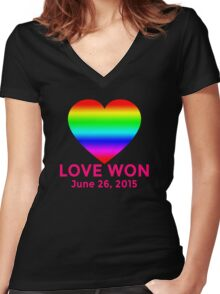LOVE WON  Marriage Equality Commemorative Women's Fitted V-Neck T-Shirt