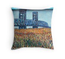 Blue Border Bridge Throw Pillow