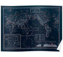 Atlas zu Alex V Humbolt's Cosmos 1851 0146 Die Gebirgsketten der Erde World Mountain Ranges Inverted Poster