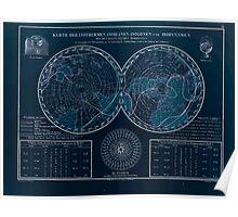 Atlas zu Alex V Humbolt's Cosmos 1851 0153 Magnetic Map Inverted Poster