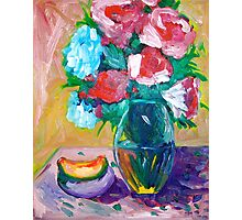 Red and Blue Flowers Photographic Print
