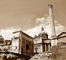 Phocas Column & the Arch of Septimus Severus  by buttonpresser