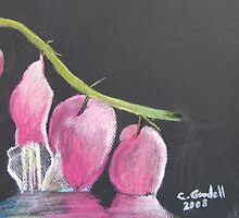 My Bleeding Hearts - Original pastel on paper by Claudia Goodell