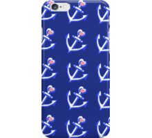 Navy Blue Heart Anchors Pattern iPhone Case/Skin