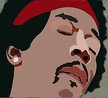 Jimi Hendrix Colored Vector Portrait by fizzyart
