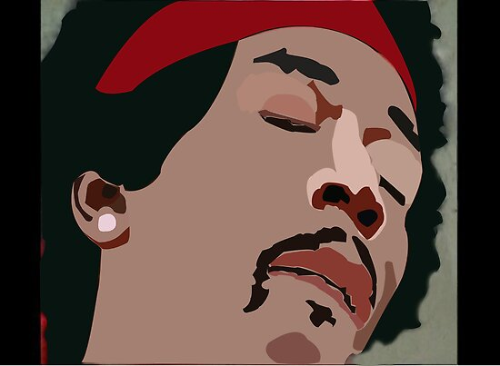 Jimi Hendrix Colored Vector Portrait by fizzyart