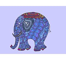 Colourful, patterned, doodle elephant Photographic Print