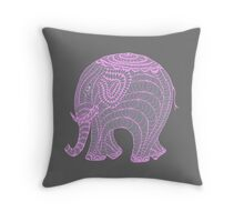 Pretty pink and gray elephant Throw Pillow