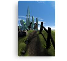 Little Red Robot Walking Over a Hill Canvas Print