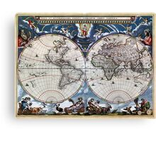Antique old world map 1664 Restored Canvas Print