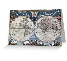 Antique old world map 1664 Restored Greeting Card