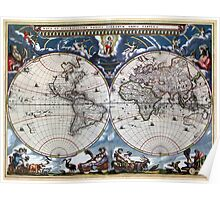 Antique old world map 1664 Restored Poster