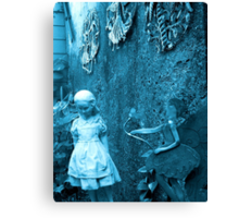 Alice in Wonderland Alice Girl statue in the woods Canvas Print