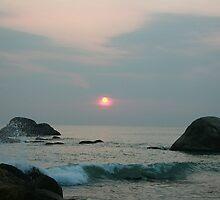 Sunset on the shore by debjyotinayak