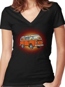 Bay Window Campervan Sunburst Women's Fitted V-Neck T-Shirt