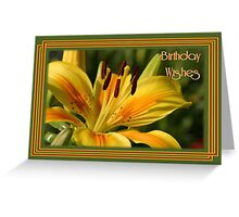 Birthday Wishes Greeting Card With A Yellow Lily Greeting Card