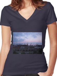 View of a cargo seaport against the evening cloudy sky Women's Fitted V-Neck T-Shirt