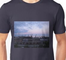 View of a cargo seaport against the evening cloudy sky Unisex T-Shirt