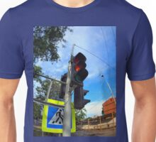 Bottom view on traffic light and road sign closeup  Unisex T-Shirt