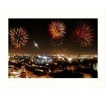 Manchester Skyline and Fireworks Art Print