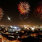 Manchester Skyline and Fireworks by Samantha Bloomfield