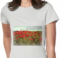 Red Glow of Poppy Fields Womens Fitted T-Shirt