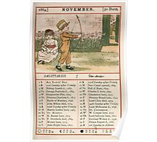 Kate Greenaway Almanack 1880 0017 November Poster