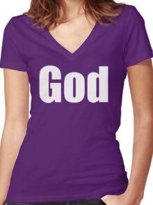 GOD  Women's Fitted V-Neck T-Shirt