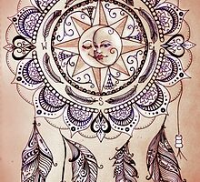 Bohemian Compass Rose Mandala - Tattoo Colours by JoniArt