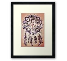 Bohemian Compass Rose Mandala - Tattoo Colours Framed Print