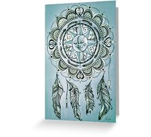 Bohemian Compass Rose Mandala Blue ink Greeting Card