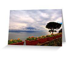 View of the Amalfi Coast from Villa Rufolo, Ravello, Campania, Italy Greeting Card