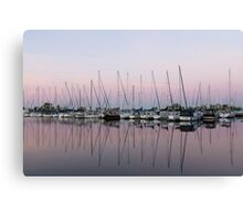 Marina in Pink - Peaceful Boat Reflections Canvas Print