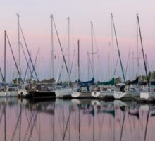 Marina in Pink - Peaceful Boat Reflections Sticker
