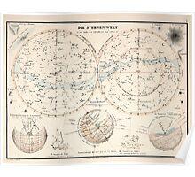Atlas zu Alex V Humbolt's Cosmos 1851 0140 Die Sternen Welt The Starry World Poster