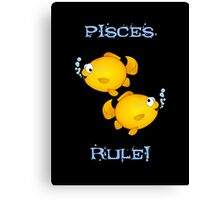 Pisces cartoon goldfish humourous  Canvas Print