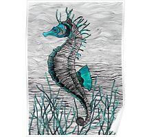 Seahorse (aqua) Poster