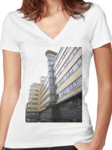 London Deco: Ibex House 1 Women's Fitted V-Neck T-Shirt