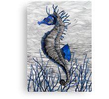 Seahorse (blue) Canvas Print