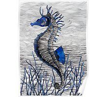 Seahorse (blue) Poster