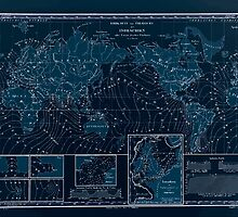 Atlas zu Alex V Humbolt's Cosmos 1851 0154 Earth Map Isorachien Inverted by wetdryvac