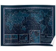 Atlas zu Alex V Humbolt's Cosmos 1851 0154 Earth Map Isorachien Inverted Poster