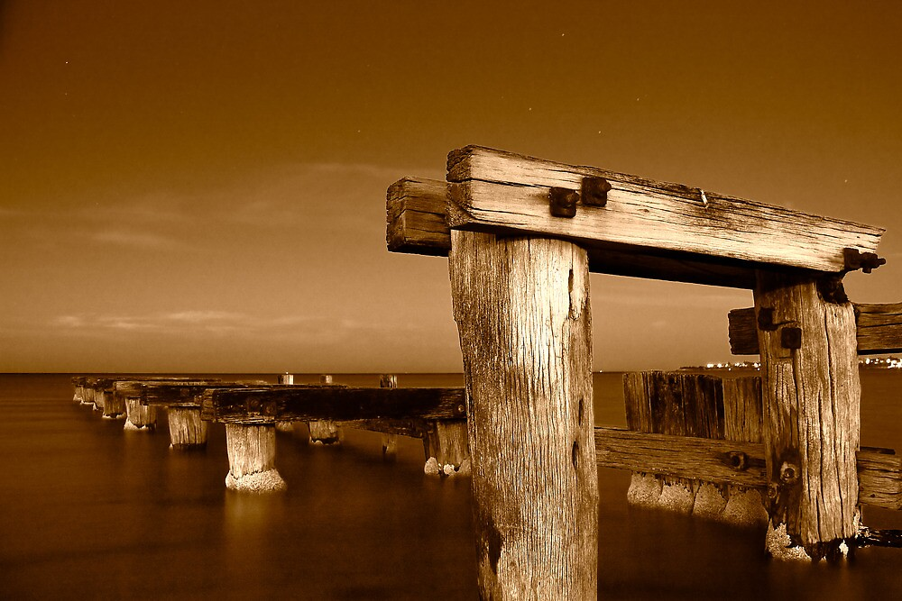 Dawn at Mentone Pier #1 in Sepia by Jason Green