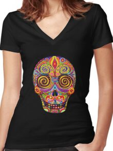 Sugar Skull Day of the Dead shirt Women's Fitted V-Neck T-Shirt