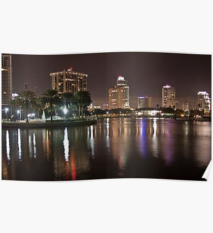 St. Petersburg Lights on Water Poster