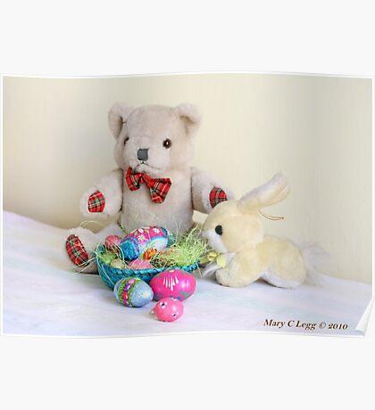 Yellow Easter Bunny brings Erasmus Bear Easter Eggs Poster