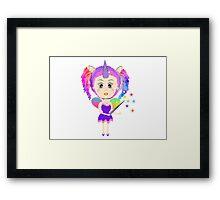 Cute Fantasy Rainbow Fairy Unicorn Framed Print