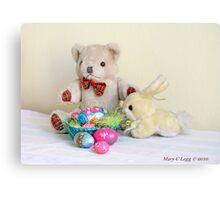 Yellow Easter Bunny brings Erasmus Bear Easter Eggs Canvas Print